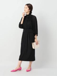 【VERMEIL par iena】L'UNE Pleated top back satin dress