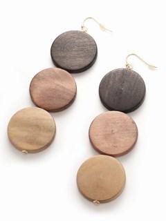 【V+J】3 circle wood earring