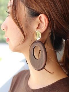 【V+J】open oval wood drop