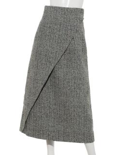 【EBLOA】フロントボタンツイードスカート
