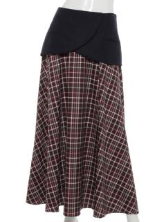 【EBLOA】チェックバックテールスカート