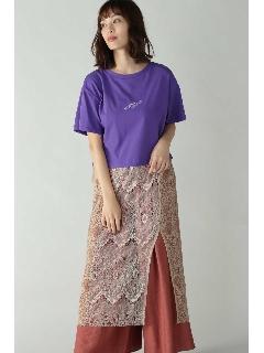 Tシャツ×レースドッキングワンピース