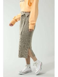 サイドスリットリブニットスカート