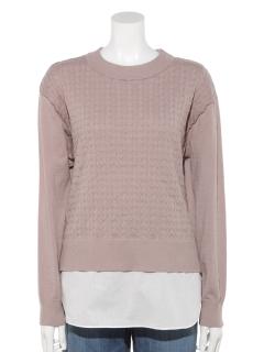 【CarinaLuce】重ね着風切り替えニットセーター