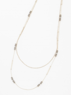 ビーズチェーンロング2連ネックレス