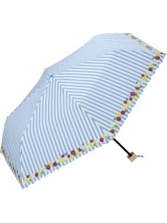 【折りたたみ傘】ストライプフラワーmini