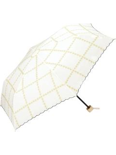 【折りたたみ傘】ラインフラワー刺繍mini