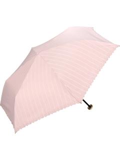 【折りたたみ傘】遮光リムフラワーストライプmini