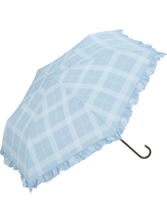 【折りたたみ傘】遮光フリルチェックmini