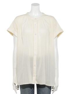 フレンチスリーブノーカラーギャザーシャツ