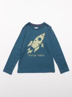 Orange hakka フロントプリント長袖Tシャツ