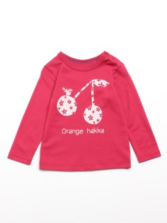 [ベビー]Orange hakka フロントプリント長袖Tシャツ