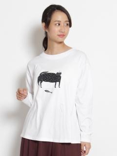 [大きいサイズ][15号 19号]アーティストコラボ「僕の歩く道」刺しゅう×プリント長袖Tシャツ