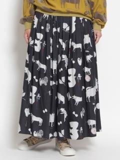 [大きいサイズ]アーティストコラボ「コトバのカタチ」プリントギャザースカート