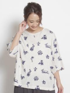 [大きいサイズ][15号 19号]アニマルスケッチアート単色プリントコクーンTシャツ