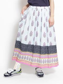 [大きいサイズ]コットンローン更紗プリントギャザースカート(裏地付き)