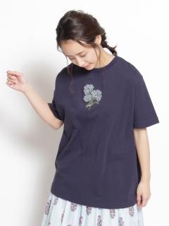 [大きいサイズ][15号 19号]フラワーレター刺しゅうTシャツ