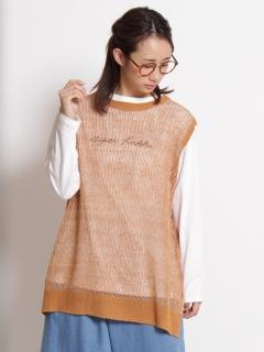 リネン引きそろえメッシュ編みベスト