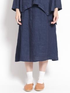 リネンデニムポケットフレアスカート